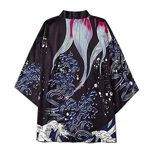 Mujeres Japonesas Kimono Cardigan Albornoz Unisex Cloak Chaqueta De Manga De Tres Cuartos Tallas Grandes Camisa Pijamas Sueltas Medium