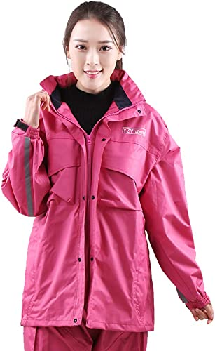 Guyuan Hommes et Femmes Mode imperméable Pantalon de Pluie Costume Camouflage Adulte Double épaisseur Moto Batterie imperméable Voiture (Couleur   Rose rouge, Taille   XXXXL)