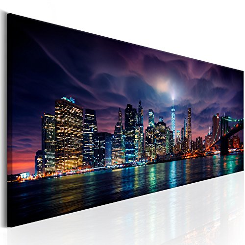 murando Impression sur Toile intissee 120x40 cm 1 Piece Tableau Tableaux Decoration Murale Photo Image Artistique Photographie Graphique New York Citta City NY d-B-0155-b-a