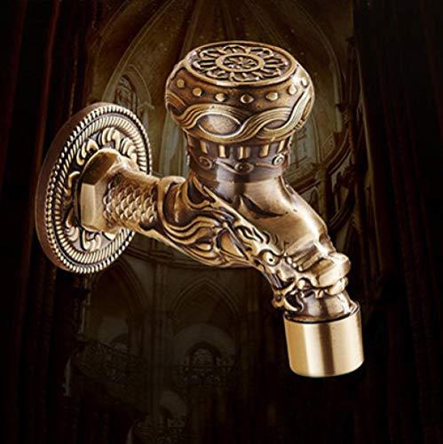fcndsfk Wasserhahn Antike Messing Bad Waschmaschine Wandarmatur Globus Ventil Outdoor Garten Wasserhahn
