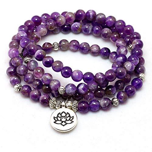 ZHONGGOZZ Pulsera o collar de chakra natural de cristal púrpura 108 Buddha Mala para yoga, pulsera de piedra de loto para mujer (color de metal: abalorio de Buda)