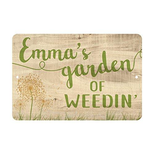 Pattern Pop Personalized Garden of Weedin' Metal Sign