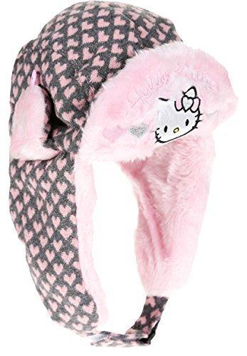 Bonnet Chapka maille et fourrure enfant fille Hello kitty 3 coloris de 3 à 9ans (54 (6-9 ans), Rose/gris)