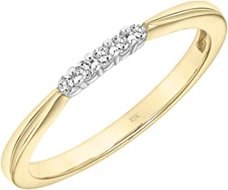 Brilliant Expressions 10K Yellow Gold 0.05 Cttw Conflict Free Diamond Accented Wedding or Anniversary Band (I-J Color, I2-I3 Clarity)