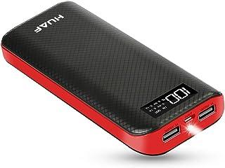モバイルバッテリー 大容量18000mah 携帯充電器 軽量 小型 LCD残量表示 LEDライト付き 持ち運び 急速充電器 USB充電器 懐中電灯 手にフィット