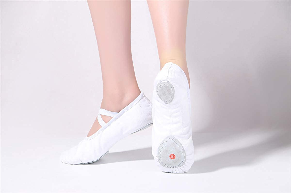 Womens Canvas Ballet Slippers Practice Yoga Flat Shoes Split Belly Shoes