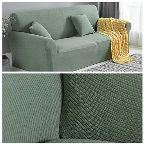 Yuany Fundas de sofá en Forma de L Tela seccional Cubierta de sofá de Tela Fundas de sofá de Esquina TCK Four Seasons Protector Antideslizante para Muebles, Verde Militar, 3 plazas