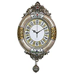 Fancy Elegant Ethnic Luxury Wall Clock European Handmade Fashion Home Decorative Silent Battery Operated 3D Embossed Creative Antique Art Resin Frame Handicraft for Living Room (W19H33 Inch Flower5)