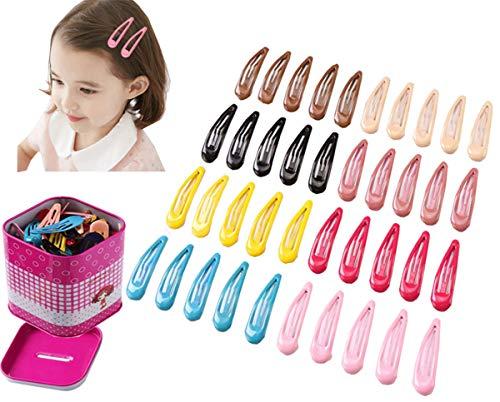 Liuer Haarspelden, 40 stuks, voor meisjes, haarclips, haarklemmen voor kinderen, meisjes, dames, van metaal, met opbergdoos (willekeurige kleur)