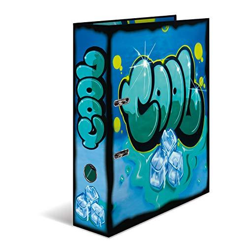 HERMA 7149 Motiv-Ordner DIN A4 Graffiti Cool, 7 cm breit aus stabilem Karton mit trendigem Innendruck, Ringordner, Aktenordner, Briefordner, 1 Ordner