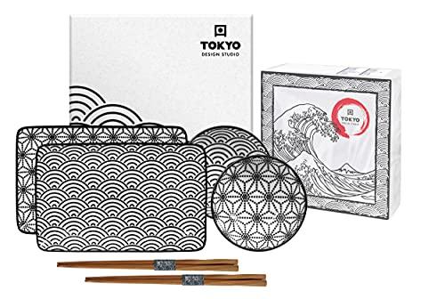 TOKYO design studio, Nippon Black, Set de Sushi, 6 Piezas. 2 Placas para Sushi, 2 Cuencos para Salsas, 2 Pares de Palillos de Madera. Juego de Platos para Sushi de Porcelana.
