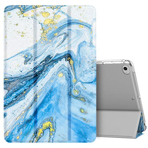 MoKo Case Fit New iPad Mini 5th Generation 7.9' 2019/iPad Mini 4 2015, Slim Lightweight Smart Shell Stand Cover with Translucent Frosted Back Protector, with Auto Wake/Sleep - Blue Quicksand