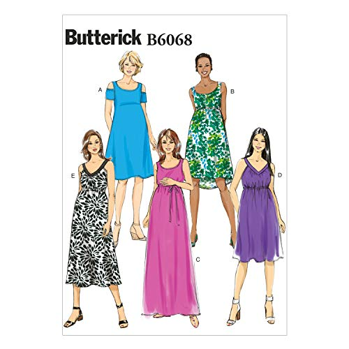 Butterick Patterns 6068 Misses Easy Maternity Dress and Belt Sizes 6-8-10-12-14