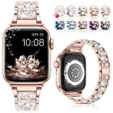 LELONG for Apple Watch Band 38mm 40mm SE Series 6 Series 5 4 3 2 1, Bling Replacement Bracelet iWatch Band, Diamond Rhinestone Stainless Steel Metal Wristband Strap