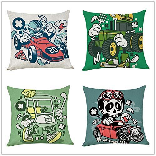 ZYFSKR Cotton Linen Pillow Covers Sofa Cover Xmas Cushion Covers Creative Car Cushion Cover Home Decor For Sofa Car Bedroom 4 Pcs 45X45Cm