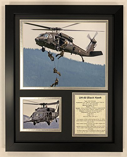 Legends Never Die Uh-60 Black Hawk Helicopter Framed Double Matted Photos, 12' x 15'