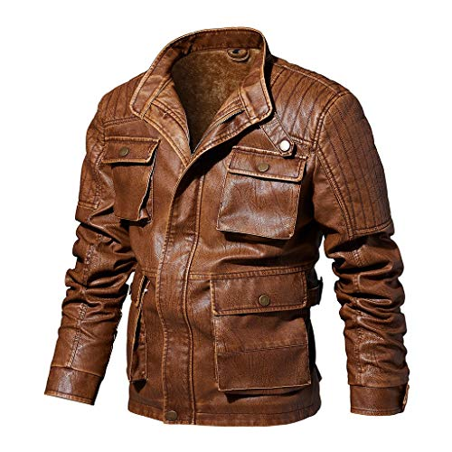 Herren Warm Lederjacke Retro Fleecejacke Biker Jacken männer wasserdicht Winddicht Outdoorjacke übergangsjacken Kölner Karneval Weihnachten Herrenjacke CICIYONER