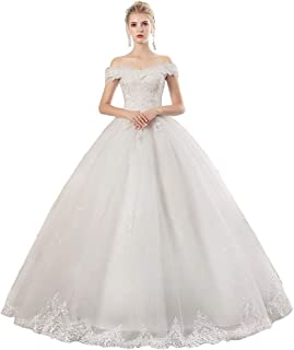 Bride Off Shoulder Lace Embroidered Wedding Dress Prom Bridal Gown Tulle Fluffy Skirt beautiful