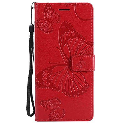 DENDICO Cover Galaxy S9 Plus, Pelle Portafoglio Custodia per Samsung Galaxy S9 Plus Custodia a Libro con Funzione di appoggio e Porta Carte di cRossoito - Rosso