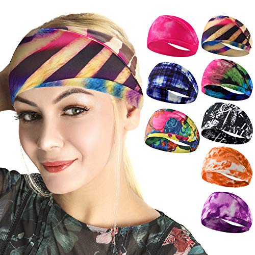 Headbands for Women, Boho Style Yoga Elastic Headwraps Head Wrap Hair Band 8 Pack (Tie Dye Style-1)