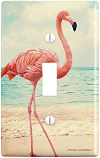 GRAPHICS & MORE Flamingo on Beach Starfish Retro Plastic Wall Decor Toggle Light Switch Plate Cover