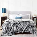 Bedsure Faux Fur King Size Blankets for Bed Grey - Tie-dye Fuzzy Fluffy Soft Plush Decorative Cozy Shaggy Shag Furry Warm Thick Sherpa Big Large Blankets King Size, 108x90 inches