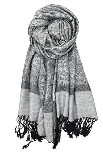 Achillea Two Tone Vintage Jacquard Paisley Pashmina Shawl Wrap Scarf (Light Grey)