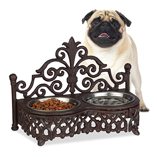 Relaxdays Futterbar Hunde, Antik-Stil, Doppelnapf, Gusseisen, Futternapf-Set, entnehmbare Edelstahlnäpfe je 0,3 l, braun