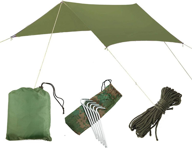 Camping Tarpaulin Outdoor Multifunction Folding Tent Waterproof Sun Predection AntiUV Sun Shield Sandy Beach Pergola Canopy Portable Moistureproof Mat,Green