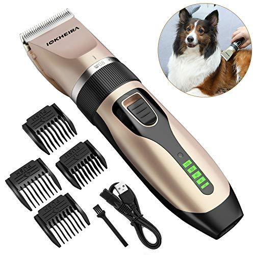 Iokheira Tosatrice per Cani Professionale, Indicazione e USB Ricaricabile Tosatrice Cani, Tosaerba a Basso Rasoio per Cani, Gatti e Animali Domestici