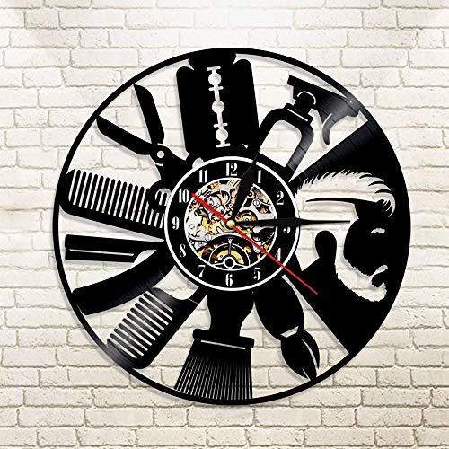 TJIAXU Peluquería Herramientas de salón Reloj de Pared Logo Reloj de Pared salón de Belleza diseño de Interiores Disco de Vinilo Reloj de Pared Ideas de Regalos de Moda