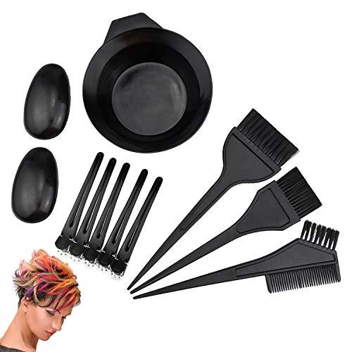Demason 10 Pcs kit Coloration Cheveux, Outil de Teinture Bol de Teinture, Pinceau de Teinture, Cache-oreille, Clips pour DIY Salon Tools Set