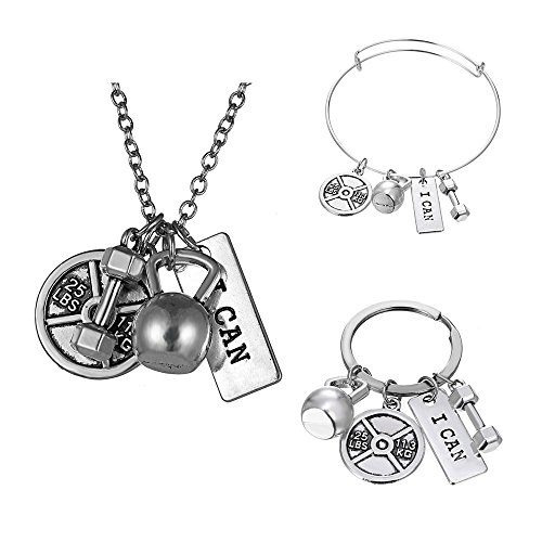 Gmai I Can Workout Exercise Weight Lifting Barbell Kettlebell Fitness Silver Fitness Gym Barbell Plate Dumbbell Weight Jewelry Set Necklace Keyring bracelet