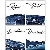 Navy Blue Bathroom Wall Art Decor - Set of 4 Unframed Prints (8x10 Inch) Relax, Soak, Breathe, Unwind