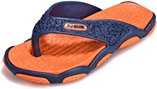 Durable Summer Shoes Summer Flip Flop Men's Slippers Patchwork Designed To Withstand Whatever The Weather (Color : Orange, Size : 42)