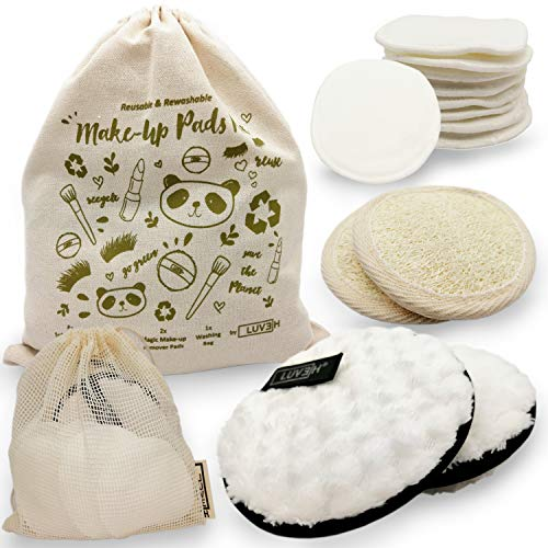 LUVEH - Tampons démaquillants lavables et réutilisables, tampons de maquillage en bambou organique.