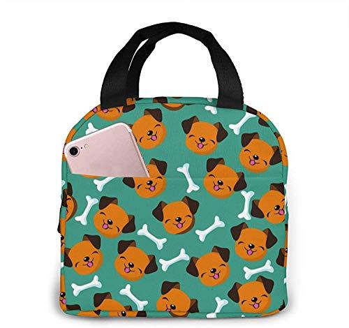 Bolsa de almuerzo reutilizable Happy Dog Face, bolsa de almuerzo aislada y fresca, adecuada para viajes de picnic en la oficina y la escuela