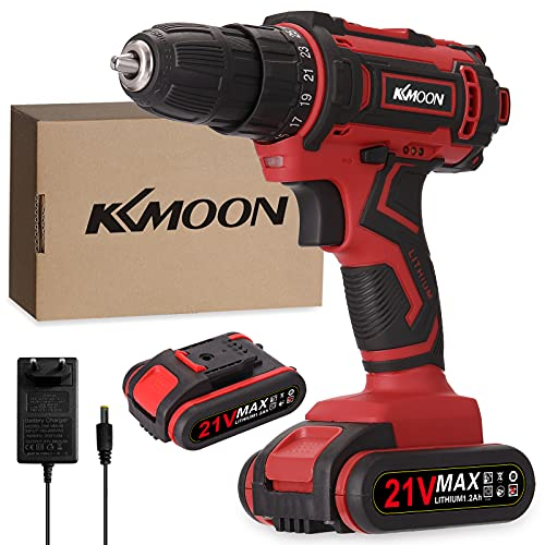 KKmoon Taladro atornillador inalámbrico de 21 V, batería de litio de alto rendimiento