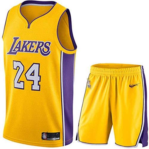 Camiseta De Baloncesto para Hombre Kobe No. 24 Los Angeles Lakers Traje De Baloncesto Deportivo Malla Transpirable Swingman Jersey Chaleco Pantalones Cortos Traje,G-XXS