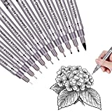 Black Precision Micro Line Pens,Ultra Fine Point Drawing Pen Set, Anti-Bleed Waterproof Archival Ink, Artist Illustration, Technical Drawing, Technical,Drawing,Office Writing,10/Set (Black)