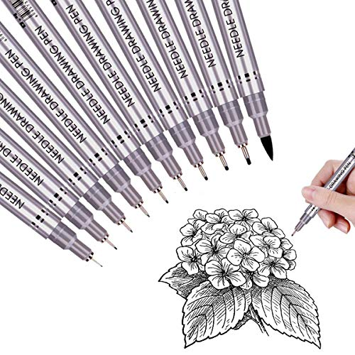 Black Precision Micro Line Pens,Ultra Fine Point Drawing Pen Set, Anti-Bleed Waterproof Archival...