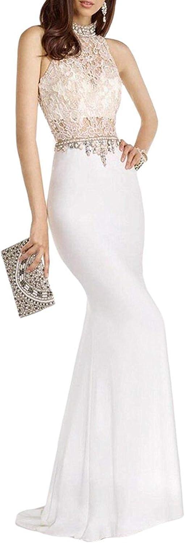 Engerla Bridal Mermaid Halter Prom Dresses Rhinestone Beaded Party Gown Lace Evening Dresses