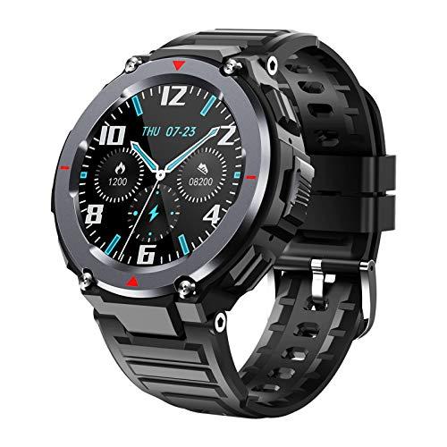 LTLJX Herren Smartwatch, Fitness Armband Touchscreen IP67 Wasserdicht, Schrittzähler Uhr, Pulsmesser, Musiksteuerung, Smartwatch Damen Kinder, Fitness Uhr Für iPhone Samsung,Schwarz