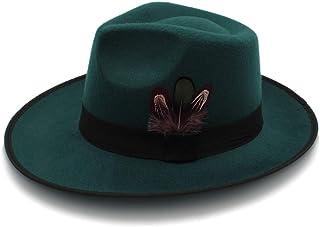 Fashion Sun Hat for Autumn Winter Wool Cap Hat for Women Ladies Flat Brim Fedora Hats Felt Cap with Belt Female Sun Top Jazz Hat Suitable for hot Weather Season (Color : Green, Size : 56-58CM)