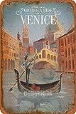 Venecia - Placa de metal estilo callejero para garaje, club, bar, cenador, casa de campo familiar,...