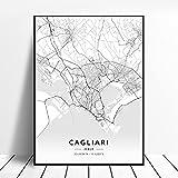 zhuifengshaonian Bari Rimini Catania Perugia Cagliari Ravenna Italia Mapa Lienzo Arte Cartel (ZW-102) Sin Marco Poster 40x60cm