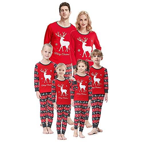 Pijamas de Navidad Familiar Pijama Dos Piezas Mameluco Ropa de Casa Familia Conjunto Mangas Homewear Largas Top y Pantalon para Mamá Papá Niños Bebés,Women-XL