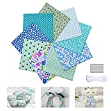 Juego de 9 piezas de tela de polialgodón de 50 x 50 cm, juego de cuadros de retazos para costura, acolchado, manualidades, manualidades (cian)