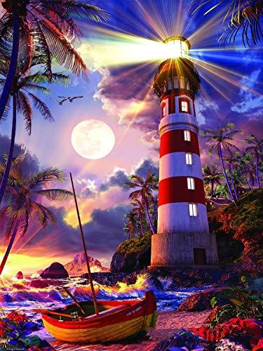 Aapxi Malen nach Zahlen Erwachsene Leuchtturm Malen nach Zahlen Landschaft – 40 x 50 cm Leinwand und 4 Pinsel, Acrylfarbe (ohne Rand)