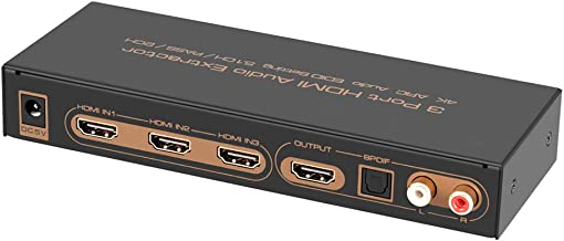 iArkPower 3 Port HDMI Switch with Optical Toslink SPDIF & RCA L/R Audio Out, 3×1..